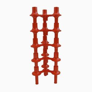 Modulare Kerzenständer in Orange von Fritz Nagel für Sonti, 1970er, 5er Set