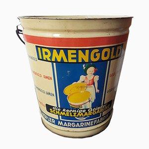 Cubo de lata de margarina Irmengold vintage, años 50