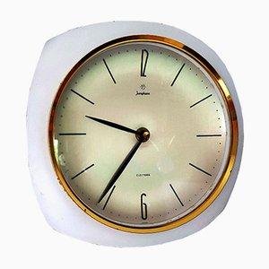 Reloj de pared vintage de latón en blanco de Junghans