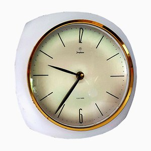 Vintage White & Brass Wall Clock from Junghans