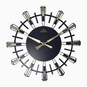German Black Brass Wall Clock from Meister Anker, 1950s