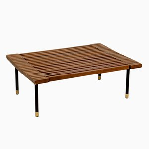 Vintage Italian Stained Beech Coffee Table with Metal Legs, 1960s