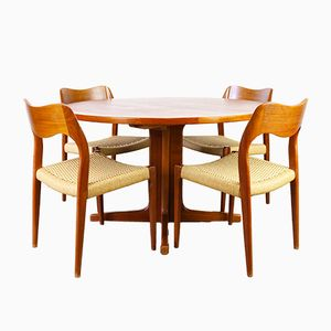 Danish 71 Teak & Papercord Dining Room Set by Niels Otto Møller for J.L. Møllers, 1950s