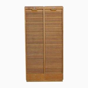 Mid-Century Industrial Double Tambour Cabinet in Oak