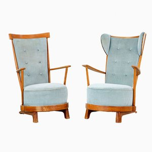 Sculptural Slipper Chairs, 1940s, Set of 2