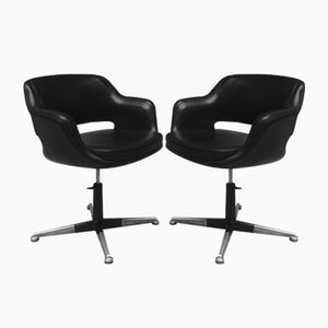Black Skai Swivel Chairs from Cassina, 1960s, Set of 2