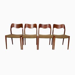 Sedie da pranzo modello 71 in teak di Niels Otto Møller per J.L. Møllers, anni '60, set di 4