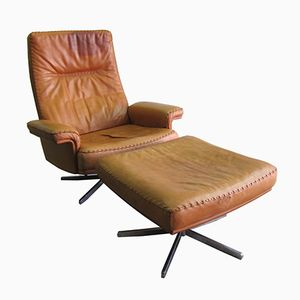 Vintage DS35 Sessel mit hoher Rückenlehne und Ottomane von de Sede, 1975