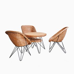 Wicker Garden Armchairs with Coffee Table Set, 1960s