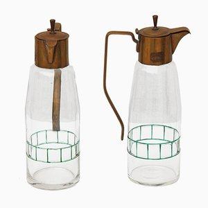 Caraffe in vetro ed ottone, anni '20, set di 2