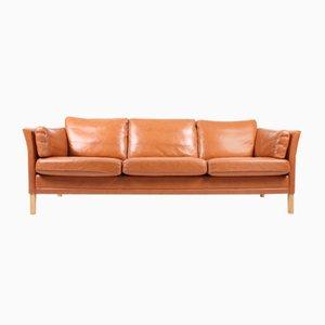 Sofá de tres plazas de cuero de Mogens Hansen, años 80