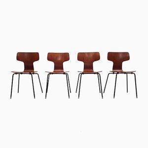 Model 3103 Teak Hammer Chairs by Arne Jacobsen for Fritz Hansen, 1960s, Set of 4