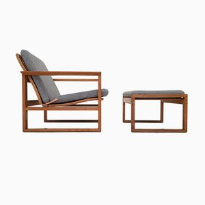 Vintage 2256 Lounge Chair & Footstool by Børge Mogensen for Fredericia Stolefabrik