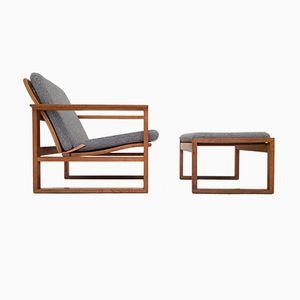 Vintage Eiche 2256 Armlehnstuhl & Hocker von Børge Mogensen für Fredericia Stolefabrik