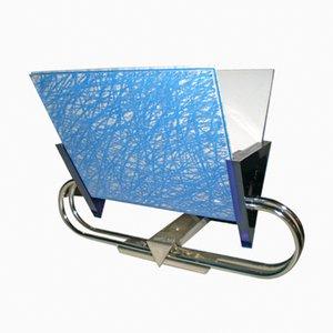 Applique vintage in vetro blu e acciaio di Arteluce