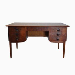 Freistehender dänischer Vintage Teak Schreibtisch