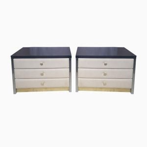 White Nightstands in Leather & Brass with Glass Top, 1970s, Set of 2