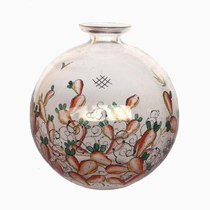 Vintage Glass-Enameled Vase by Luigi Fontana for Vedar