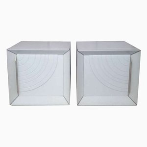 White Lacquered Wood Nightstands, 1970s, Set of 2