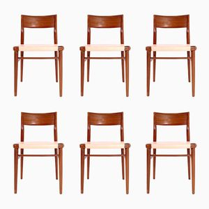 Teak and Leather Chairs, 1960s, Set of 6