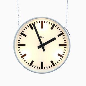 Große doppelseitig beleuchtete Uhr von Burke, 1950er