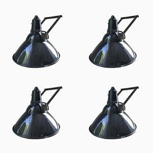 Lampes Industrielles Vintage en Email, Set de 4