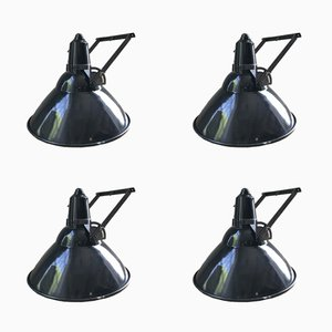 Vintage Industrial Enamel Lamps, Set of 4
