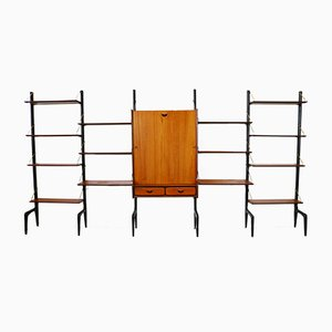 Large Free Standing Wall Unit in Teak & Brass with Desk by Louis Van Teeffelen for WéBe, 1950s