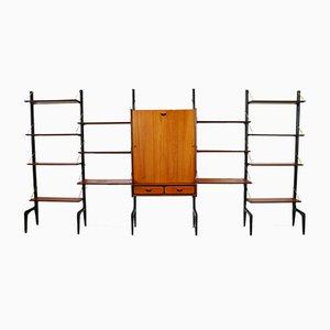 Mueble de pared independiente grande de teca y latón con escritorio de Louis Van Teeffelen para WéBe, años 50
