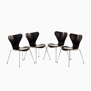 3107 Butterfly Dining Chairs by Arne Jacobsen for Fritz Hansen, 1989, Set of 4