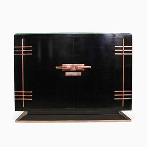 Art Deco Black Lacquered and Copper Sideboard, 1930s