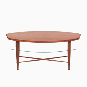Teak Coffee Table with Glass Magazine Shelf, 1960s