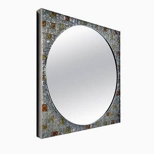Italian Backlit Glass Wall Mirror from Poliarte, 1970s