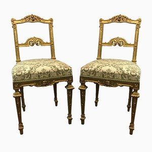 Antique Louis XVI Golden Chairs, Set of 2