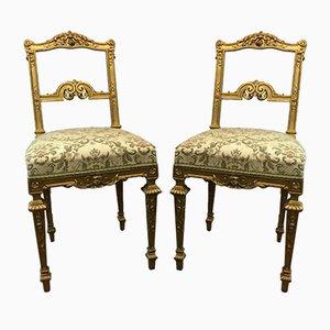 Sedie antiche Luigi XVI dorate, set di 2