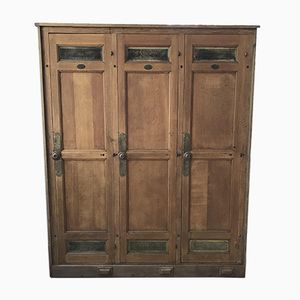 Vintage Wood & Brass Wardrobe