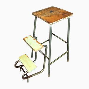 Mid-Century French Step Ladder Stool by V. Verges