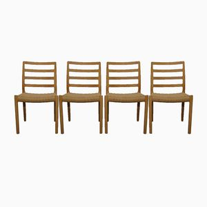 Model 85 Oak Chairs by Niels Otto Møller for J.L. Møllers, 1960s, Set of 4