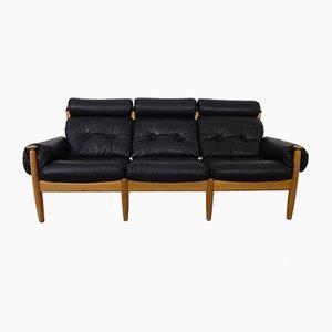 Dänisches Mid-Century Sofa aus Eiche & Leder, 1960er