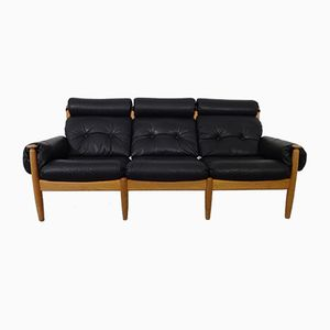 Mid-Century Danish Oak & Leather Sofa, 1960s