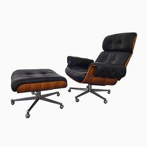 Juego suizo de silla y otomana de cuero y palisandro de Martin Stoll para Stoll Giroflex, años 60