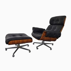 Swiss Rosewood Leather Chair and Ottoman Set by Martin Stoll for Stoll Giroflex, 1960s