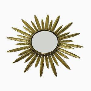 Specchio vintage a forma di sole in ottone, anni '60