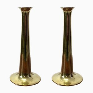 Danish Brass Candleholders by Hans Bolling for Torben Ørskov, 1960s, Set of 2