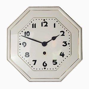 Horloge Murale Octogonale Art Nouveau en Porcelaine avec Bord Doré