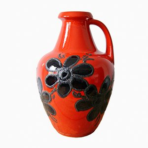 Red Floor Vase with Black Flowers from Bay Keramik, 1960s