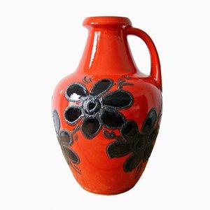 Rote Bodenvase mit schwarzen Blumen von Bay Keramik, 1960er