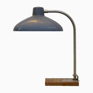 Belgische Stahl, Eichenholz & Bakelit Schreibtischlampe, 1950er