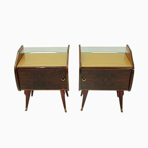 Italian Bedside Tables with Glass Tops, 1950s, Set of 2