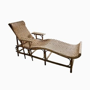 Chaise longue vintage regolabile in bambù e vimini